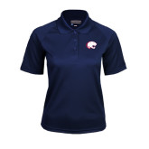 Ladies Navy Textured Saddle Shoulder Polo-Jag Head
