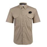 Khaki Short Sleeve Performance Fishing Shirt-Jag Head