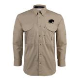 Khaki Long Sleeve Performance Fishing Shirt-Jag Head