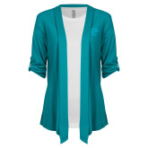 Ladies Teal Drape Front Cardigan-Jag Head