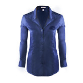 Ladies Red House Deep Blue Herringbone Non Iron Long Sleeve Shirt-Jag Head