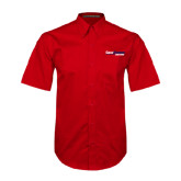 Red Twill Button Down Short Sleeve-South Alabama Jaguars