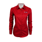 Ladies Red Twill Button Down Long Sleeve-South Alabama Jaguars