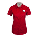 Ladies Red Twill Button Up Short Sleeve-Jag Head
