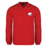 V Neck Red Raglan Windshirt-Jag Head