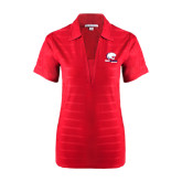 Ladies Red Horizontal Textured Polo-Official Logo