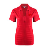 Ladies Red Horizontal Textured Polo-Jag Head