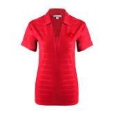 Ladies Red Horizontal Textured Polo-Jag Head