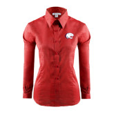 Ladies Red House Red Long Sleeve Shirt-Jag Head