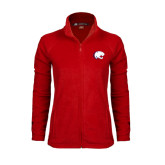 Ladies Fleece Full Zip Red Jacket-Jag Head