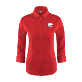 Ladies Red House Red 3/4 Sleeve Shirt-Jag Head