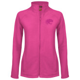 Ladies Fleece Full Zip Raspberry Jacket-Jag Head