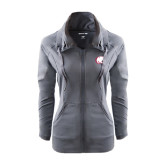 Ladies Sport Wick Stretch Full Zip Charcoal Jacket-Jag Head