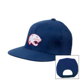 Navy Flat Bill Snapback Hat-Jag Head