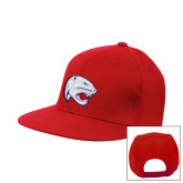 Red Flat Bill Snapback Hat-Jag Head