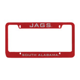 Metal Red License Plate Frame-Jags