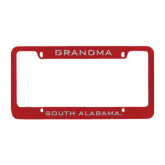 Metal Red License Plate Frame-Grandma