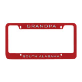 Metal Red License Plate Frame-Grandpa