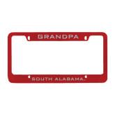 Metal Red License Plate Frame-Grandpa