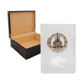 Grand Crystal Clock in Rosewood Box-Jag Head Engraved