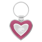 Silver/Pink Heart Key Holder-Jag Head Engraved