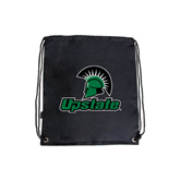 Black Drawstring Backpack-Upstate w/Spartan Head