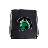 Black Drawstring Backpack-Spartans Head