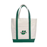 Contender White/Dark Green Canvas Tote-Spartans U