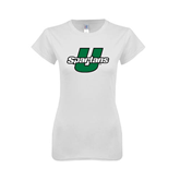 Next Level Ladies SoftStyle Junior Fitted White Tee-Spartans U