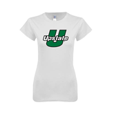 Next Level Ladies SoftStyle Junior Fitted White Tee-Upstate U