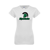 Next Level Ladies SoftStyle Junior Fitted White Tee-Upstate w/Spartan Head