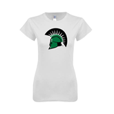 Next Level Ladies SoftStyle Junior Fitted White Tee-Spartans Head