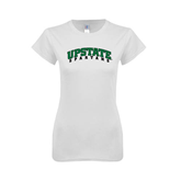 Next Level Ladies SoftStyle Junior Fitted White Tee-Upstate Spartans
