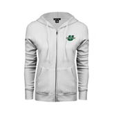 ENZA Ladies White Fleece Full Zip Hoodie-Spartans U