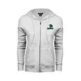 ENZA Ladies White Fleece Full Zip Hoodie-Upstate w/Spartan Head
