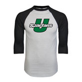 White/Black Raglan Baseball T-Shirt-Spartans U