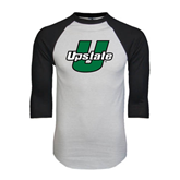 White/Black Raglan Baseball T-Shirt-Upstate U