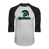 White/Black Raglan Baseball T-Shirt-Upstate w/Spartan Head