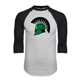 White/Black Raglan Baseball T-Shirt-Spartans Head