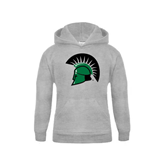 Youth Grey Fleece Hood-Spartans Head