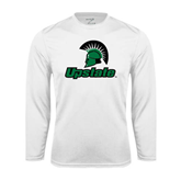 Performance White Longsleeve Shirt-Upstate w/Spartan Head