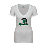 Next Level Ladies Junior Fit Ideal V White Tee-Upstate w/Spartan Head