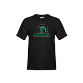 Youth Black T Shirt-Upstate w/Spartan Head