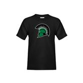 Youth Black T Shirt-Spartans Head