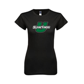 Next Level Ladies SoftStyle Junior Fitted Black Tee-Spartans U