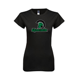 Next Level Ladies SoftStyle Junior Fitted Black Tee-Upstate w/Spartan Head