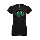 Next Level Ladies SoftStyle Junior Fitted Black Tee-Spartans Head
