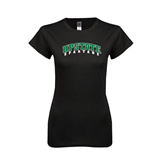 Next Level Ladies SoftStyle Junior Fitted Black Tee-Upstate Spartans