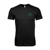 Next Level SoftStyle Black T Shirt-Upstate w/Spartan Head