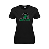 Ladies Black T Shirt-Upstate w/Spartan Head